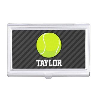 Tennis Ball on Black & Dark Gray Stripes Business Card Holders