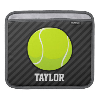 Tennis Ball on Black & Dark Gray Stripes Sleeve For iPads