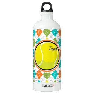 Tennis Ball on Colorful Argyle Pattern Aluminum Water Bottle