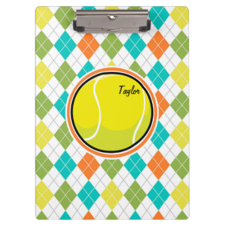 Tennis Ball on Colorful Argyle Pattern Clipboard