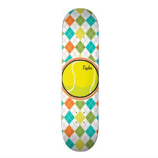 Tennis Ball on Colorful Argyle Pattern Skateboard Deck