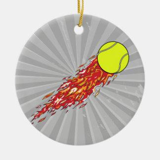tennis ball on fire flames ceramic ornament