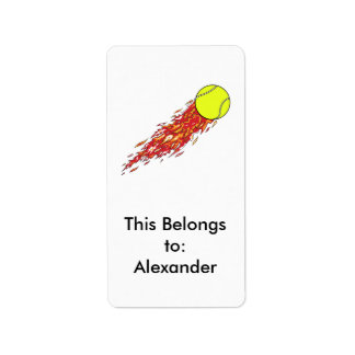 tennis ball on fire flames label