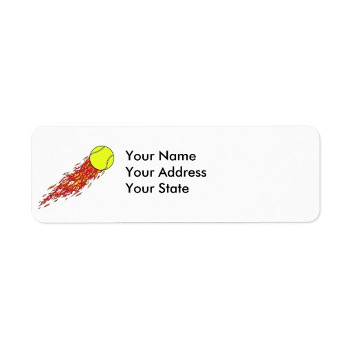 tennis ball on fire flames return address label