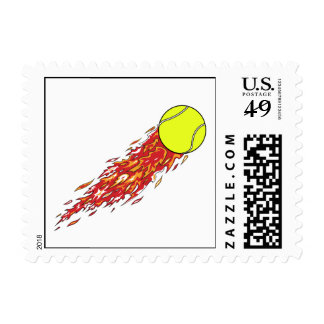 tennis ball on fire flames stamps