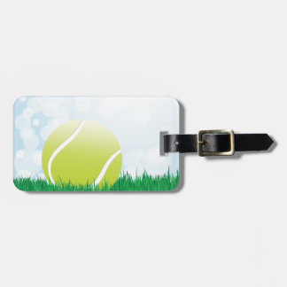 tennis ball on grass tag for luggage