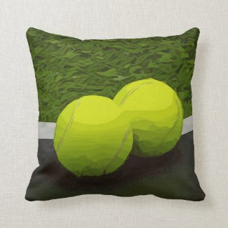 Tennis ball  on green grass throw pillow