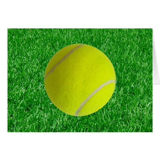 Tennis Ball On Lawn Cards