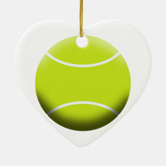 TENNIS BALL Double-Sided HEART CERAMIC CHRISTMAS ORNAMENT