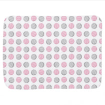 Tennis Ball Pattern Pink and Grey Swaddle Blanket