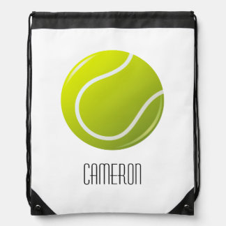 Tennis ball personalized name drawstring backpack