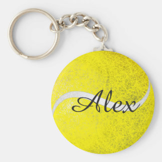 Tennis ball personalized name keychain