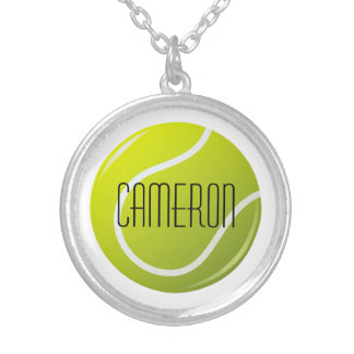 Tennis ball personalized name round pendant necklace