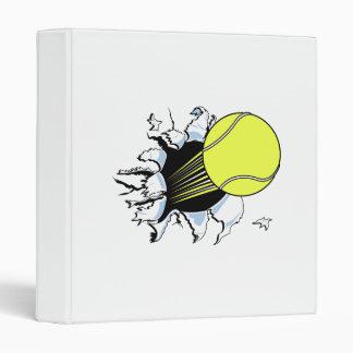 tennis ball ripping through 3 ring binder