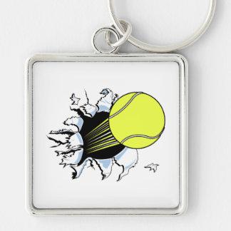 tennis ball ripping through keychain