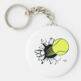 tennis ball ripping through keychains