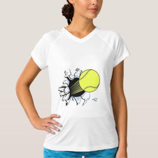 tennis ball ripping through t-shirt
