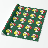 Tennis Ball Santa Cap with Green Wrapping Paper
