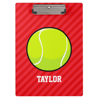Tennis Ball; Scarlet Red Stripes Clipboards