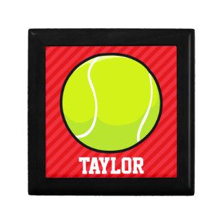Tennis Ball; Scarlet Red Stripes Trinket Box
