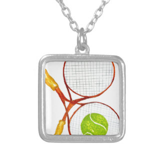 Tennis Ball Sketch2 Silver Plated Necklace
