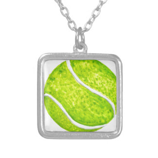 Tennis Ball Sketch4 Silver Plated Necklace