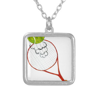 Tennis Ball Sketch Silver Plated Necklace