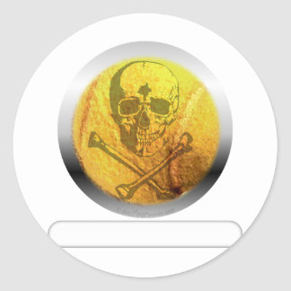Tennis Ball Skull and Crossbones Classic Round Sticker
