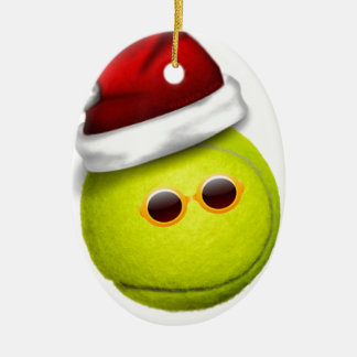 Tennis ball smiles in Christmas Ceramic Ornament