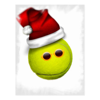 Tennis ball smiles in Christmas Postcard