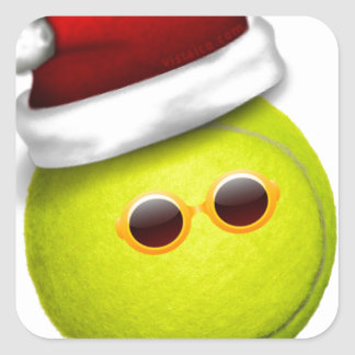 Tennis ball smiles in Christmas Square Sticker
