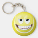 Tennis Ball Smiley Face 2 Basic Round Button Keychain