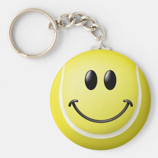 Tennis Ball Smiley Face Basic Round Button Keychain