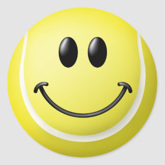 Tennis Ball Smiley Face Classic Round Sticker