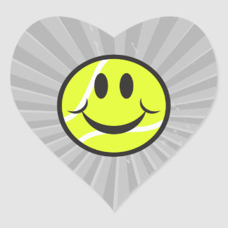 tennis ball smiley face heart sticker