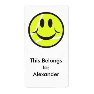 tennis ball smiley face label