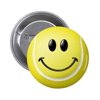 Tennis Ball Smiley Face Pinback Button