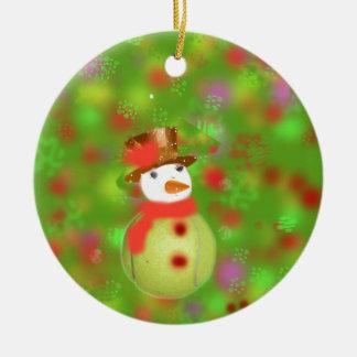 Tennis ball-snowman ceramic ornament