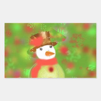 Tennis ball-snowman rectangular sticker