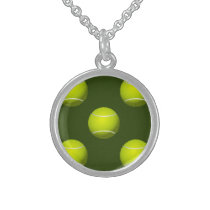 Tennis Ball Sports Sterling Silver Necklace
