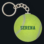 """Tennis Ball Texture Personalized Keychain<br><div class=""""desc"""">Show your love for singles and doubles with this keychain featuring tennis ball texture and fully personalized with ANY name,  team or nickname (Superstar,  Hero,  Star,  etc.)</div>"""