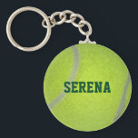 "Tennis Ball Texture Personalized Keychain<br><div class=""desc"">Show your love for singles and doubles with this keychain featuring tennis ball texture and fully personalized with ANY name,  team or nickname (Superstar,  Hero,  Star,  etc.)</div>"