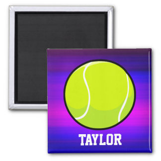 Tennis Ball; Vibrant Violet Blue and Magenta 2 Inch Square Magnet