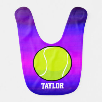 Tennis Ball; Vibrant Violet Blue and Magenta Baby Bibs