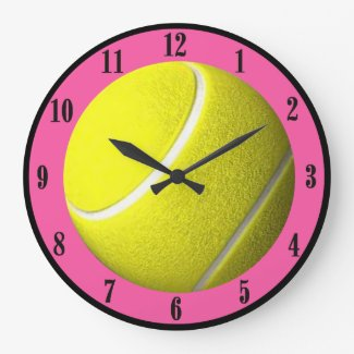 Tennis Ball Wall Clock Pink Court Black Numbers