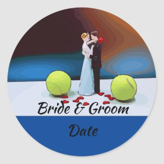 Tennis ball wedding with bride and groom classic round sticker