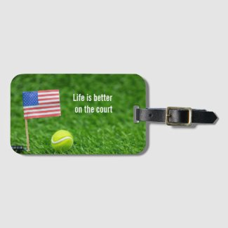 Tennis ball with American flag USA life is better Luggage Tag