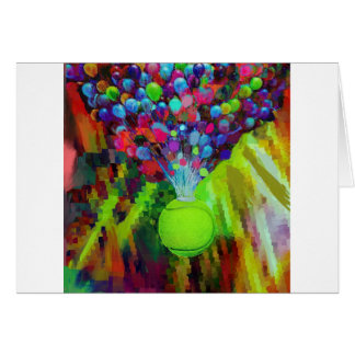 Tennis ball with balloons card