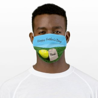 Tennis ball with blank gift tag on green for dad cloth face mask