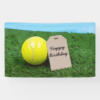 Tennis ball with blank tag Happy Birthday Banner